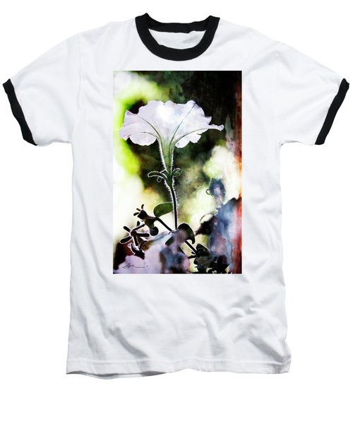 Backlit White Flower Baseball T-Shirt