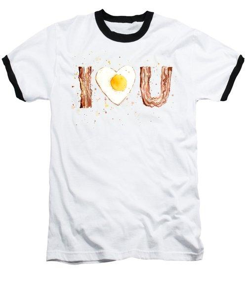 Bacon And Egg I Heart You Watercolor Baseball T-Shirt by Olga Shvartsur