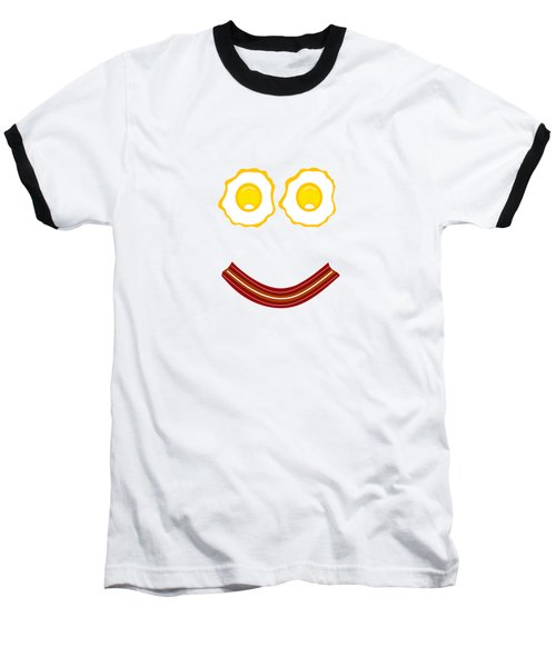 Bacon And Eggs Happy Face Baseball T-Shirt