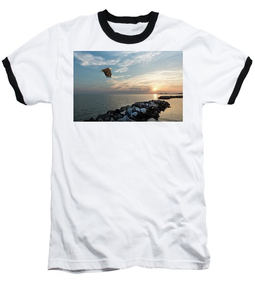 Bald Eagle Flying Over A Jetty At Sunset Baseball T-Shirt