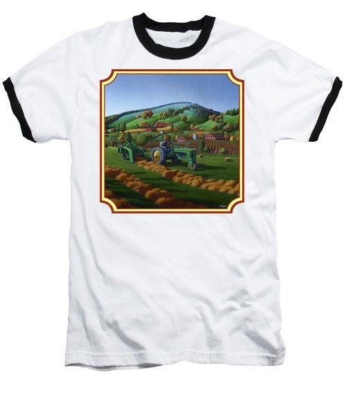 Baling Hay Field - John Deere Tractor - Farm Country Landscape Square Format Baseball T-Shirt
