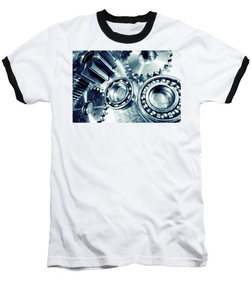 Ball-bearings And Cogs In Titanium Baseball T-Shirt by Christian Lagereek
