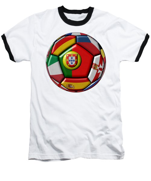 Ball With Flag Of Portugal In The Center Baseball T-Shirt by Michal Boubin