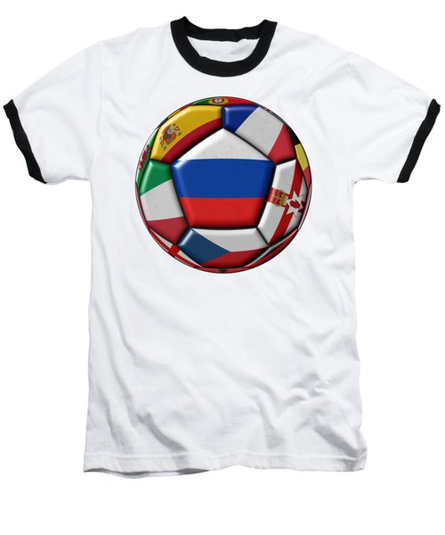 Ball With Flag Of Russia In The Center Baseball T-Shirt by Michal Boubin