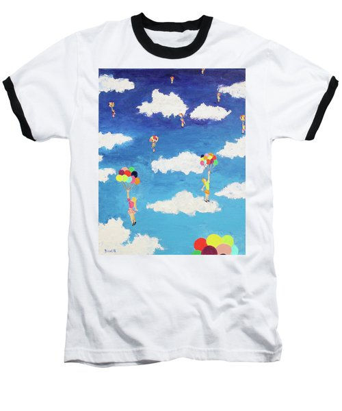 Baseball T-Shirt featuring the painting Balloon Girls by Thomas Blood