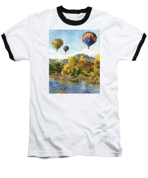 Balloons At Twin Lakes Baseball T-Shirt by Anne Gifford