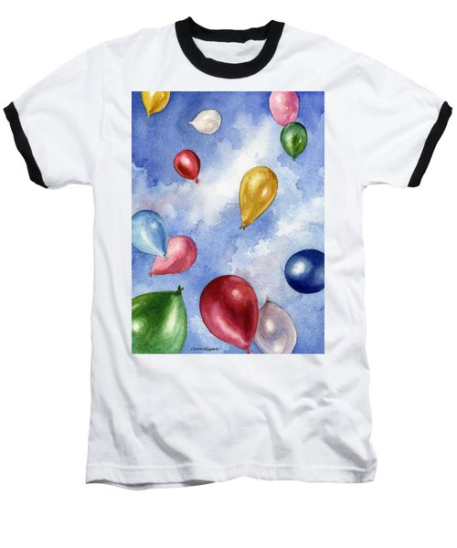 Balloons In Flight Baseball T-Shirt by Anne Gifford