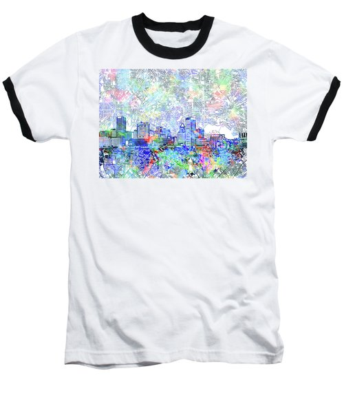 Baseball T-Shirt featuring the painting Baltimore Skyline Watercolor 10 by Bekim Art