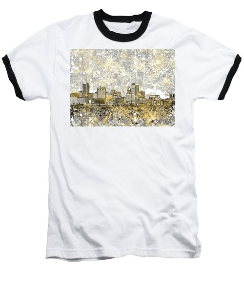 Baseball T-Shirt featuring the painting Baltimore Skyline Watercolor 8 by Bekim Art