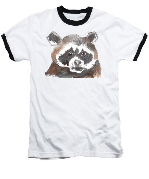 Bandit Raccoon Baseball T-Shirt by Kathleen McElwaine