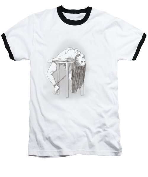 Baseball T-Shirt featuring the mixed media Bar Chair Bw by TortureLord Art