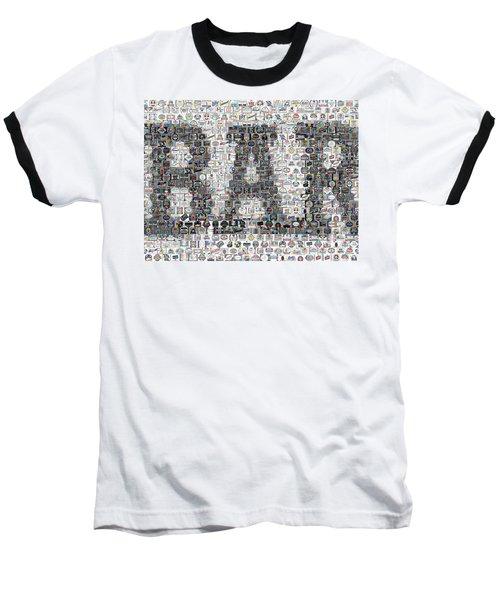 Baseball T-Shirt featuring the mixed media Bar Sign Beer Label Mosaic by Paul Van Scott