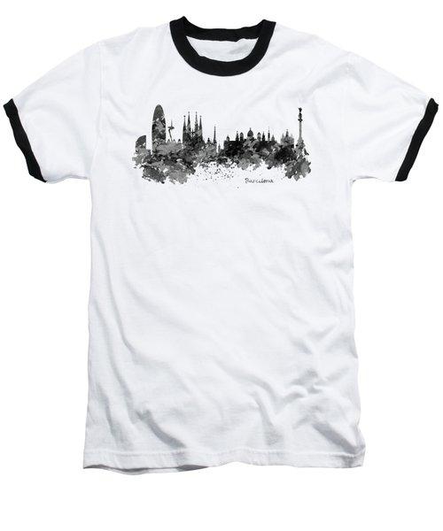 Barcelona Black And White Watercolor Skyline Baseball T-Shirt