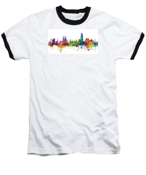 Barcelona Spain Skyline Panoramic Baseball T-Shirt