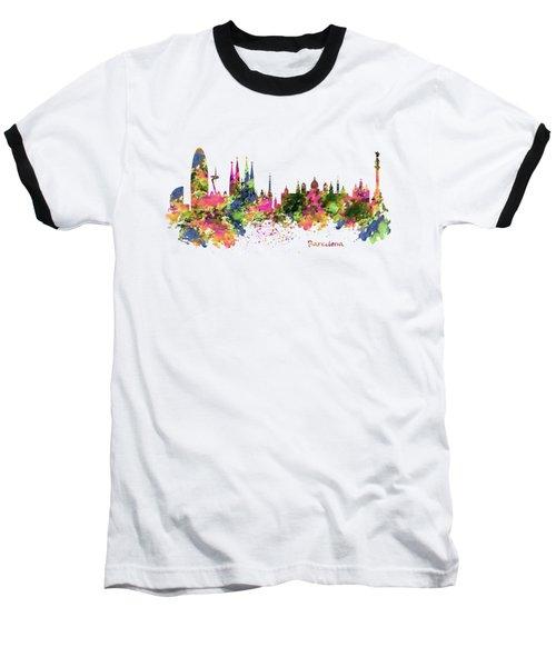 Barcelona Watercolor Skyline Baseball T-Shirt