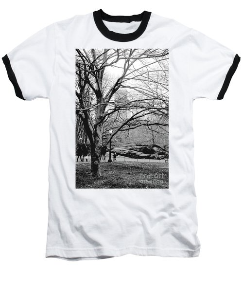 Baseball T-Shirt featuring the photograph Bare Tree On Walking Path Bw by Sandy Moulder