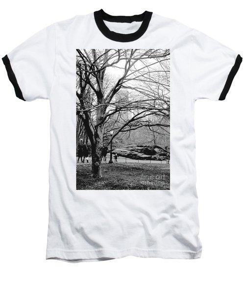Bare Tree On Walking Path Bw Baseball T-Shirt