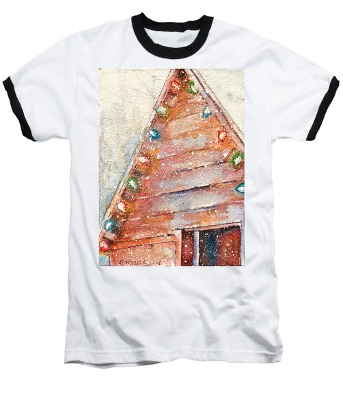 Barn In Snow Baseball T-Shirt
