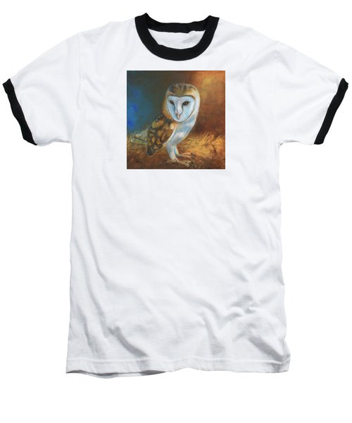 Barn Owl Blue Baseball T-Shirt