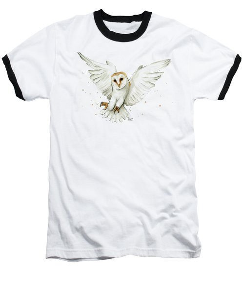 Barn Owl Flying Watercolor Baseball T-Shirt