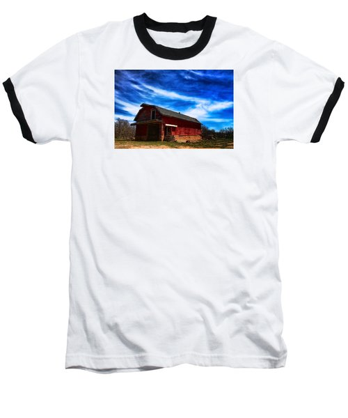 Baseball T-Shirt featuring the photograph Barn Under Blue Sky by Toni Hopper