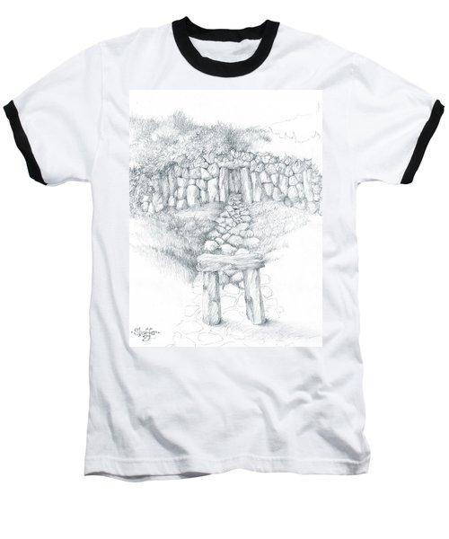 Baseball T-Shirt featuring the drawing Barrow Tomb by Curtiss Shaffer