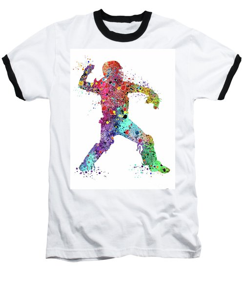Baseball Softball Catcher 3 Watercolor Print Baseball T-Shirt