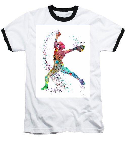 Baseball Softball Pitcher Watercolor Print Baseball T-Shirt by Svetla Tancheva