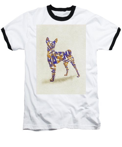 Baseball T-Shirt featuring the painting Basenji Dog Watercolor Painting / Typographic Art by Inspirowl Design