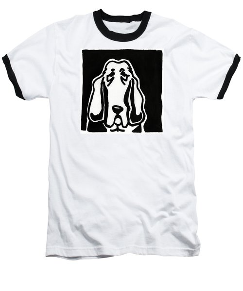 Basset Hound Ink Sketch Baseball T-Shirt by Leanne WILKES