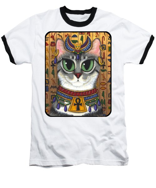 Baseball T-Shirt featuring the painting Bast Goddess - Egyptian Bastet by Carrie Hawks