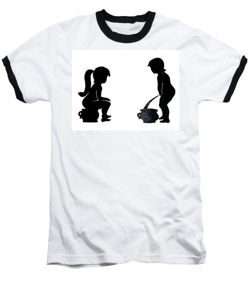 Bathroom Silhouettes Baseball T-Shirt by Sally Weigand