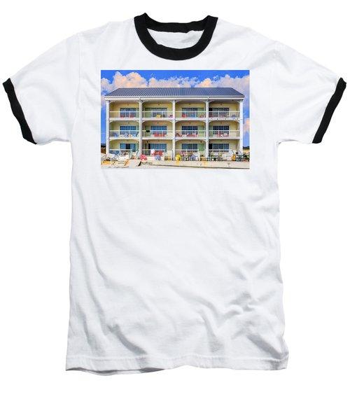 Beach Front Hotel Baseball T-Shirt by Robert FERD Frank