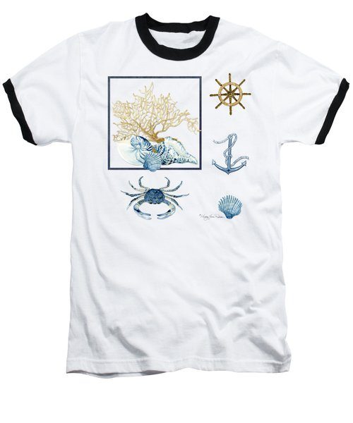 Beach House Nautical Seashells Ships Wheel Anchor N Crab Baseball T-Shirt