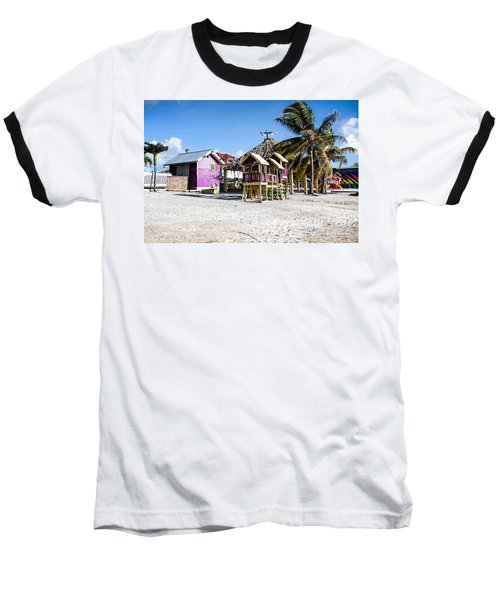 Beach Huts Baseball T-Shirt by Lawrence Burry