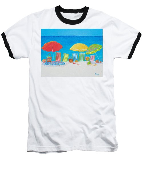 Beach Painting - Deck Chairs Baseball T-Shirt by Jan Matson