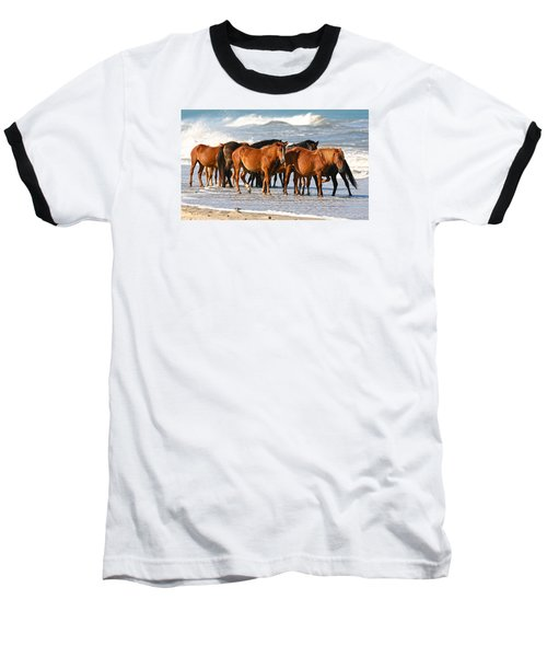 Beach Ponies Baseball T-Shirt by Robert Och