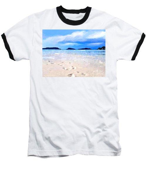 Baseball T-Shirt featuring the digital art Beach Walk by Anthony Fishburne