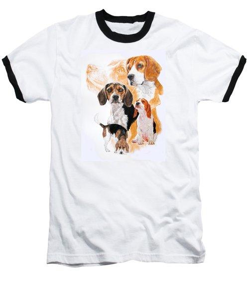 Beagle W/ghost Baseball T-Shirt by Barbara Keith