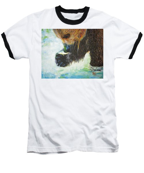 Bear Fishing Baseball T-Shirt
