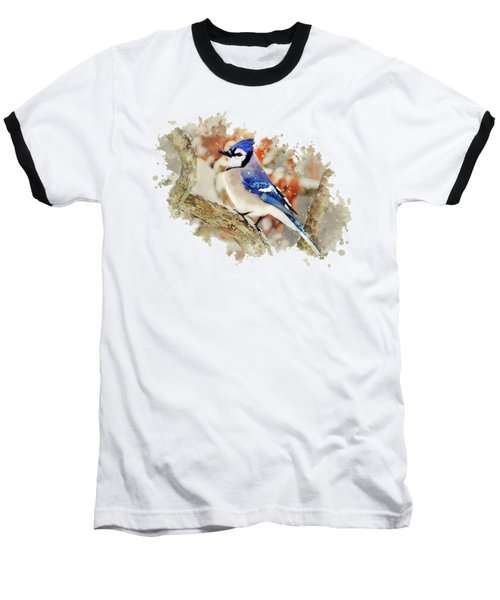 Beautiful Blue Jay - Watercolor Art Baseball T-Shirt