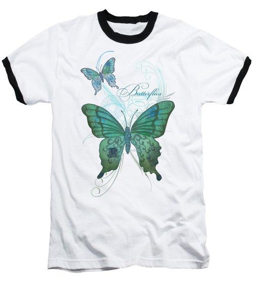 Beautiful Butterflies N Swirls Modern Style Baseball T-Shirt by Audrey Jeanne Roberts