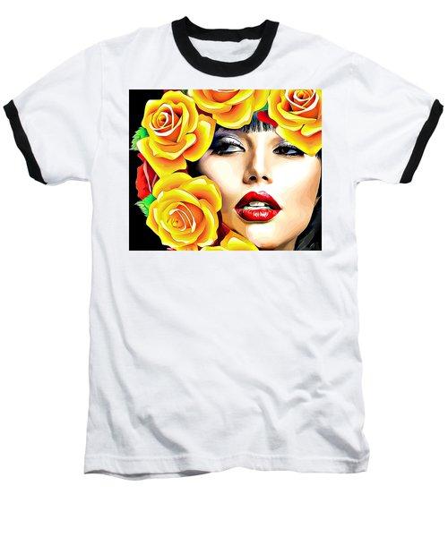 Beautiful Woman Yellow Roses Pop Art Baseball T-Shirt