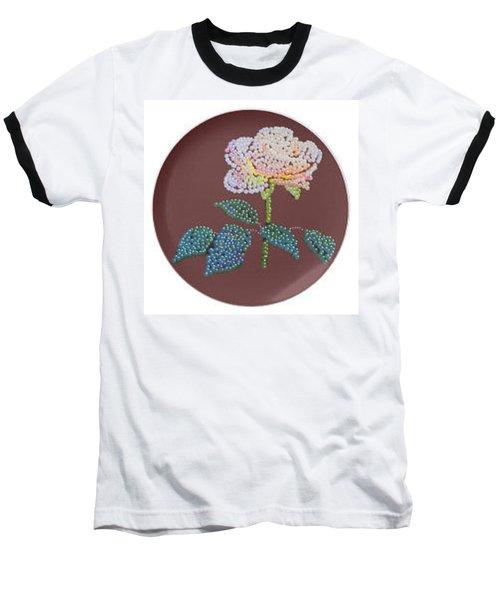 Baseball T-Shirt featuring the digital art Bedazzed Rose Plate by R  Allen Swezey