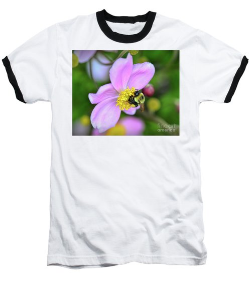 Baseball T-Shirt featuring the photograph Bee And Japanese Anemone by Kerri Farley