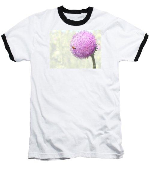 Bee On Giant Thistle Baseball T-Shirt