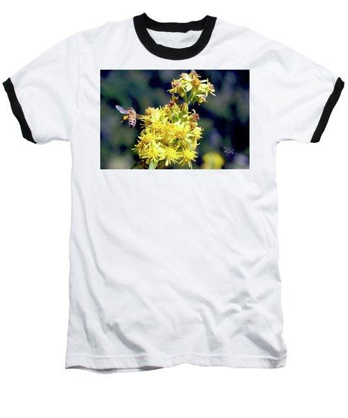 Baseball T-Shirt featuring the photograph Bee On Goldenrod by Meta Gatschenberger