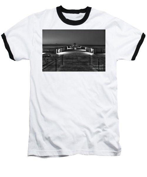 Baseball T-Shirt featuring the photograph Before Dawn Folly Beach Pier Charleston Sc Art by Reid Callaway