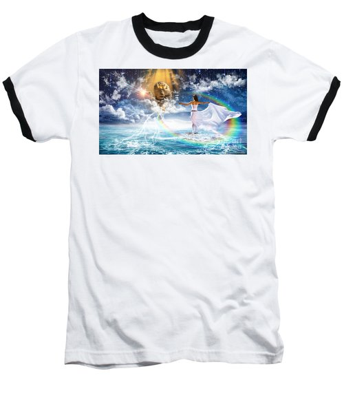 Baseball T-Shirt featuring the digital art Behold, He Is Coming  by Dolores Develde