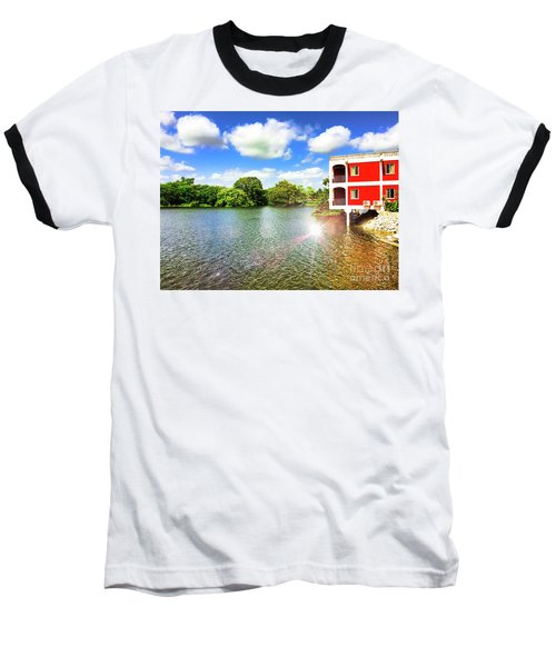 Belize River House Reflection Baseball T-Shirt